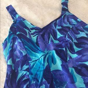 Jantzen Other - Jantzen Blue Floral One Piece Swim Suit Size 18