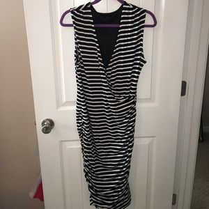 Stripped Black and White Gathered Bottom Bodycon