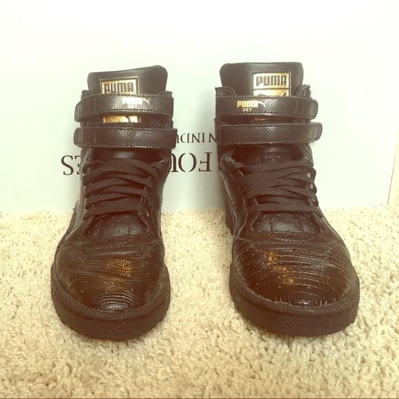 Puma Shoes | Womens Black Gold Puma Sky