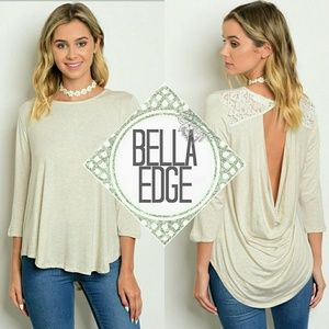 Bella Edge Tops - Cream ivory crochet drape back top