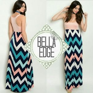 Bella Edge Dresses & Skirts - 🆕 Peach blue chevron maxi dress