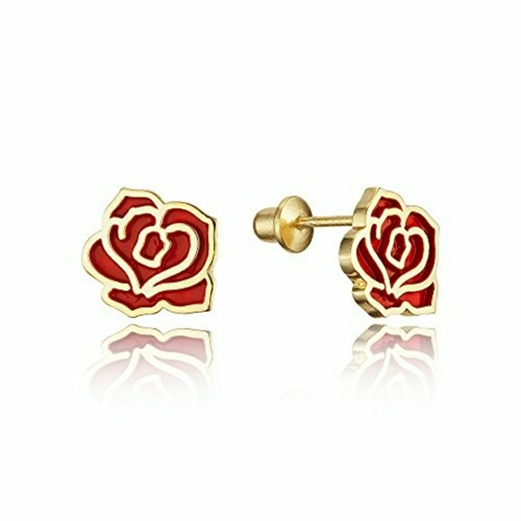 Jewelry - 14k gold plated Red flower Earrings.