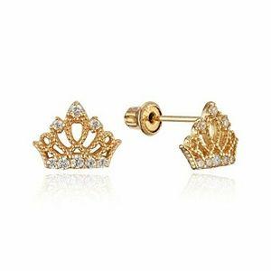 Solid 14k yellow gold princess Crown Earrings kid.