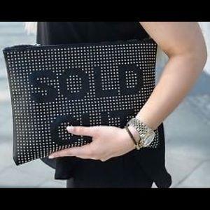 ZARA Black Faux Leather Studded Clutch Bag