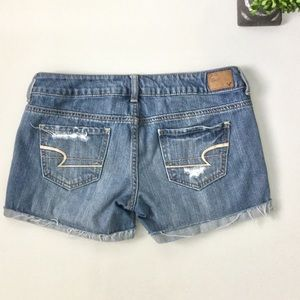 American Eagle Outfitters Pants - AMERICAN EAGLE Destroyed Midi Denim Shorts