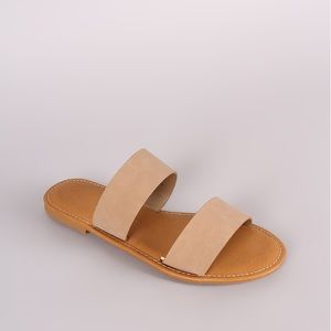 Bamboo double band slide sandals in tan