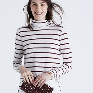 Madewell Whisper Cotton Turtleneck Wellton Stripe