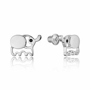 Other - 14k gold plated CZ Elephant Screwback Earrings