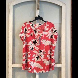Artisan NY Tops - Coral Floral Print Blouse