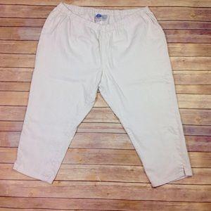 Diane Gilman Pants - DG2 Women's 3X White Stretch Denim Capri Pants