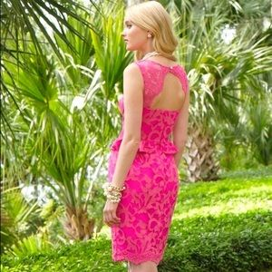 Lilly Pulitzer Kiri Lace Peplum Dress Size 8