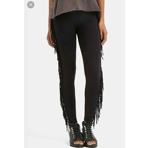 One Teaspoon Pants - One Teaspoon Black Fringe Leggings