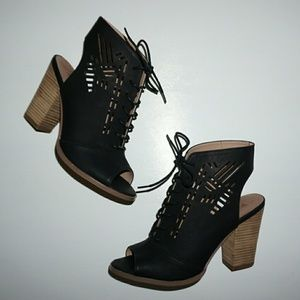 Restricted Shoes - RESTRICTED BLACK SANDAL BOOTIES OPEN TOE