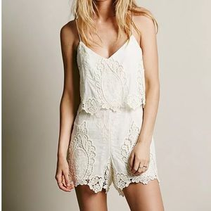 DV by Dolce Vita Pants - DOLCE VITA Lace Romper Embroidered Short Jumpsuit