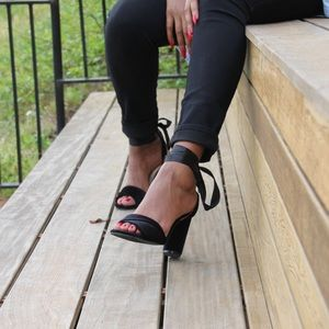 Cape Robbin Shoes - Black lace up heels. New