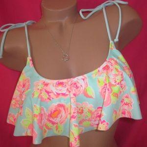 Victoria's Secret PINK flounce floral bikini top