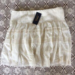 NEW POLO RALPH LAUREN cream lacy mini skirt 8 29 M