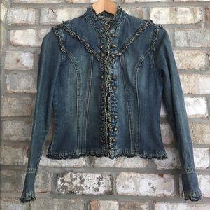 RAVE  Jackets & Blazers - RAVE ACID WASH FRAYED EDGE TIGHT FIT DENIM JACKET