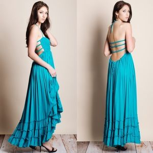 Backless Teal Maxi Dress