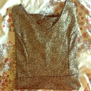 ONE CLOTHING Dresses & Skirts - Festive Glitter A- Line Dress w/ Plunging V-Neck