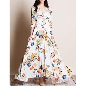 Bare Anthology Dresses & Skirts - xx Ivory Floral Print Maxi Dress