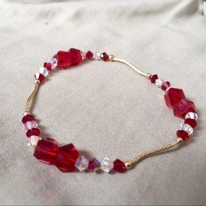Jewelry - NWOT 14KGOLD/RED SWAROVSKICRYSTAL ELASTIC BRACELET