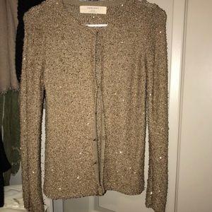 Zara Knit Gold Sequin Cardigan Size S