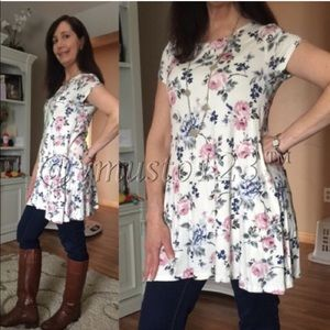 ValMarie Boutique Tops - ‼️Last One- Ivory floral tunic