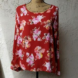 Sweet Claire Tops - 246) Rose patterned flowy top