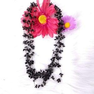 Sterling silver black stone cascade necklace