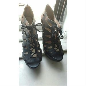 Restricted Shoes - Sexy black wedge lace up sandals