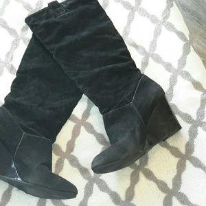 Rampage Shoes - Black wedge heel boots velveteen