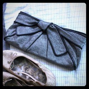 Kooba Handbags - kooba clutch grey metallic bow canvas new SALE!!!