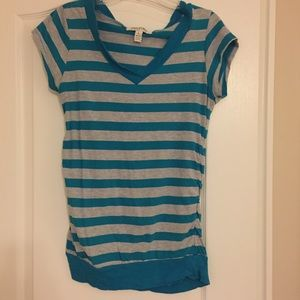 Inspire Tops - Gray and Teal Striped Maternity Tee