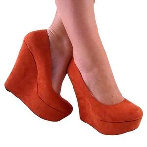 Qupid Shoes - Burnt Orange Platform Wedge Pump