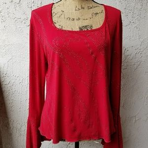 Comma Design Tops - 🆕210) Red l/s glitter top w/bell sleeves