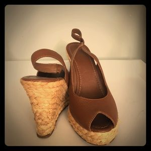 Banana Republic Shoes - Banana Republic brown leather wedge espadrilles