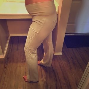 Old Navy Pants - Old Navy Mid-belly/Fold-over Linen Maternity Pants