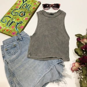 April Spirit Tops - •April Spirit• Gray/Green Ribbed Crop Top