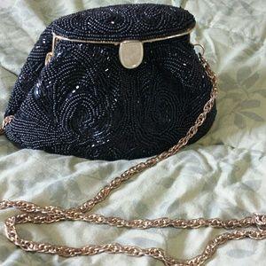 Black beaded evening purse