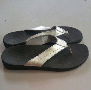 Revitalign Shoes - Revitalign Silver Tone Flip Flops