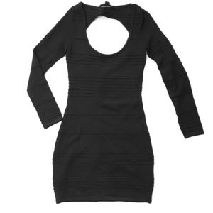 Forever 21 Black Long Sleeve Bodycon Mini Dress Sm