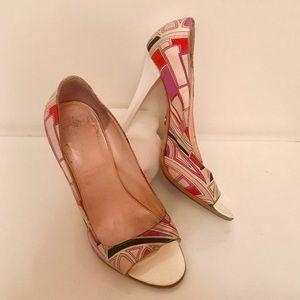 Emilio Pucci Shoes - Emilio Pucci purple pink white geometric open toe