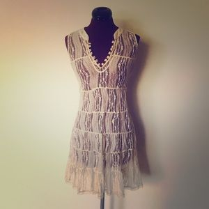 NEW Free People Lace Mini Dress Cover Up XS