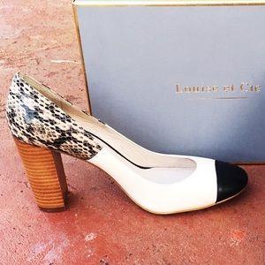 """Louise et cie Shoes - Louise et cie 4"""" Snakeskin Pumps Black & Ivory"""