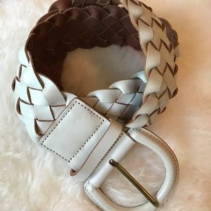 Wide woven leather belt