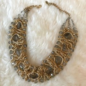 Gold braided statement necklace