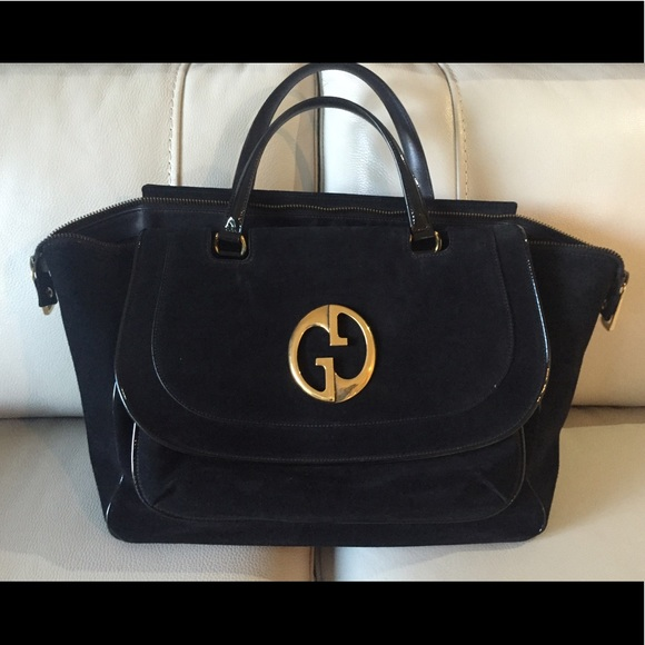 19d8112579 Gucci black suede 1973 top handle bag