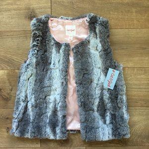 Cat & Jack Other - Cat & Jack Dusty Gray Faux Fur Vest NWT - L 10/12