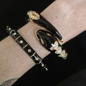 Jewelry - Set of 2 black and gold snake bangles